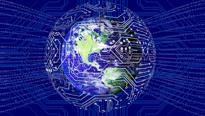 Världsnätverksteknologi Teknologikommunikation vektor illustrationer