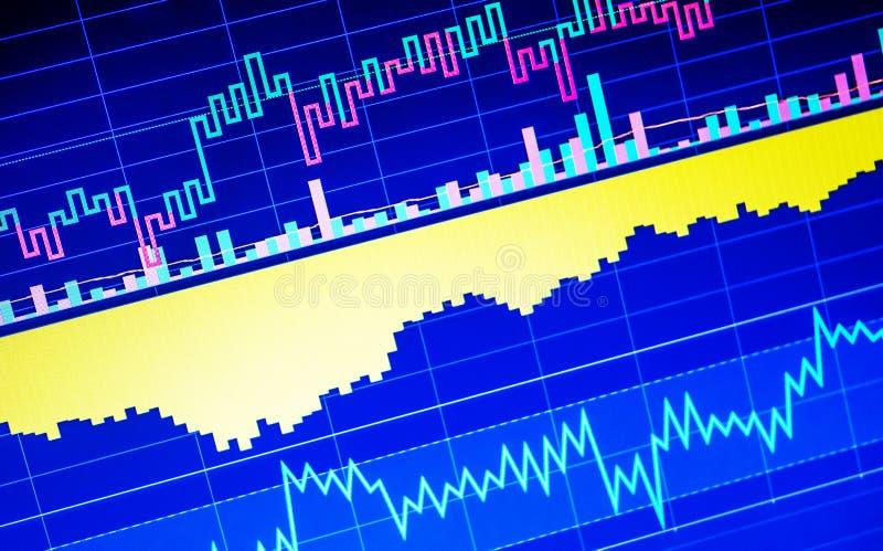 Världsnationalekonomigraf Begreppsmässig sikt av utbytesmarknaden arkivbilder