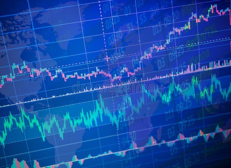 Världsnationalekonomigraf med data Begreppsmässig sikt av utbytesmarknaden handel teknisk analys arkivbild