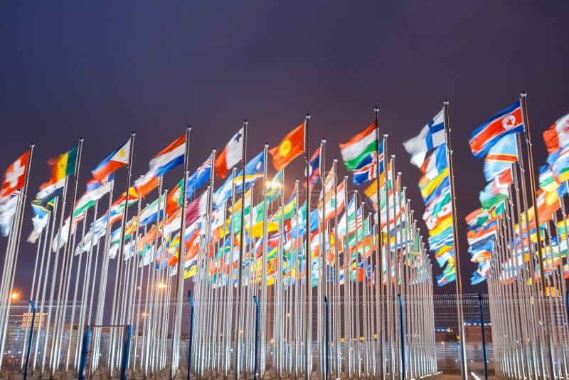 Världsnationsflaggor arkivfoto