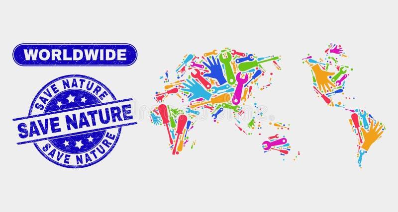 Världsomspännande översikt för enhet och skrapade räddningnaturvattenstämplar stock illustrationer