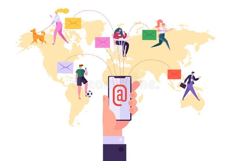 Världsomspännande begrepp för Emailmarknadsföringskommunikation Körande Digital befordranaktion, direkt levererande annonsering stock illustrationer