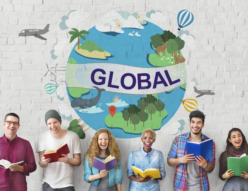 Världsomspännande begrepp för global klimattemperaturgemenskap arkivbild