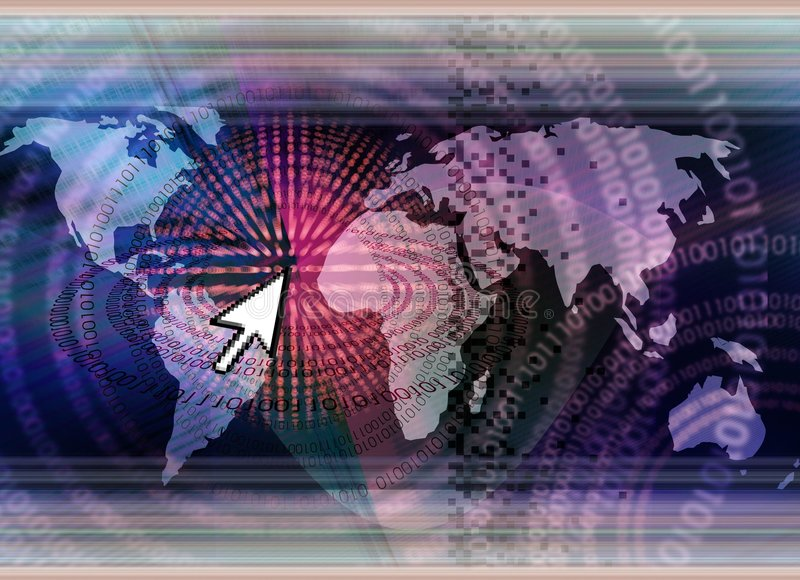 världsomspännande begreppsteknologi stock illustrationer