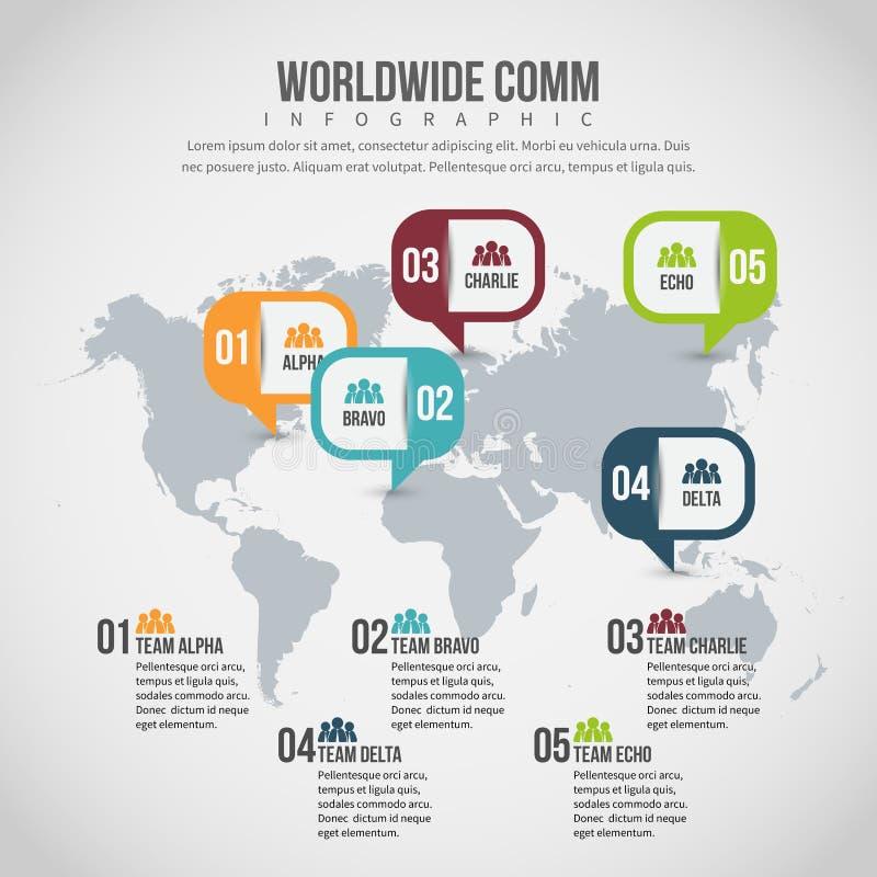 Världsomspännande Comm Infographic vektor illustrationer