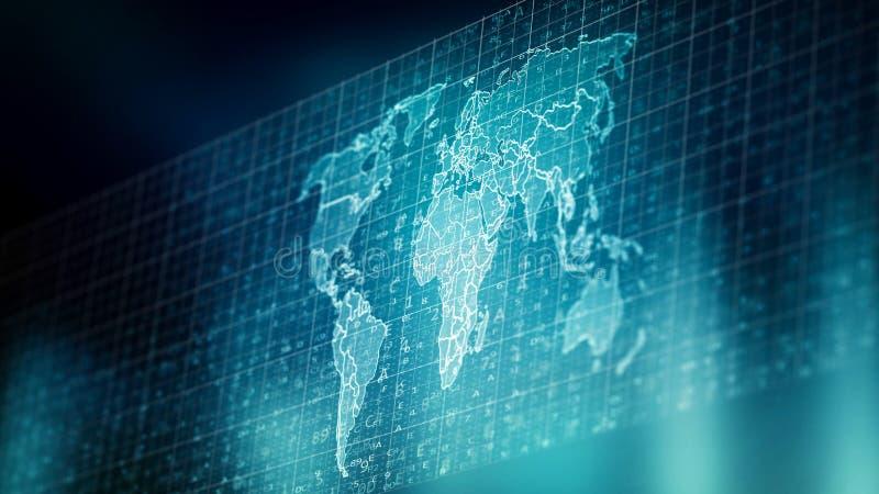 Världsomspännande globala data för internet - bearbeta royaltyfri illustrationer