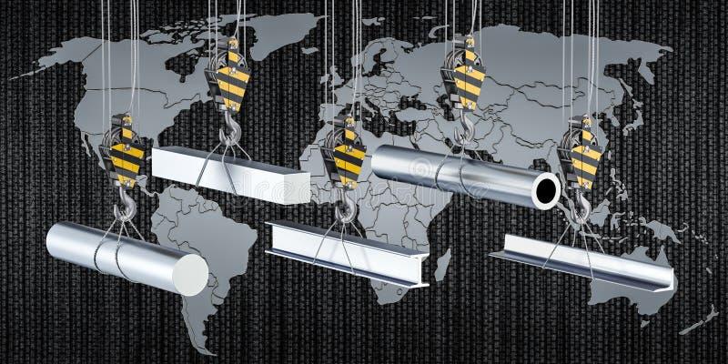 Världsomspännande handel av det rullande metallproduktbegreppet, tolkning 3D vektor illustrationer