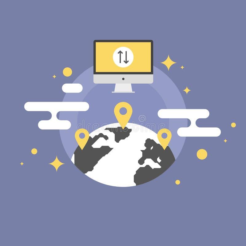 Världsomspännande illustration för kommunikationslägenhetsymbol royaltyfri illustrationer