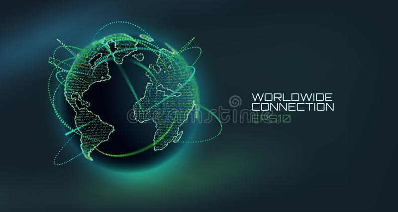 Världsomspännande jordklot för anslutningsabstrakt begreppvektor Telekommunikationteknologilinje med bana av informationsdata USA stock illustrationer
