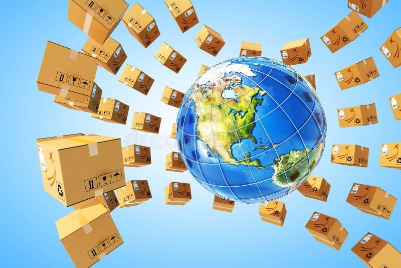 Världsomspännande köpleverans och logistikbegrepp royaltyfri illustrationer