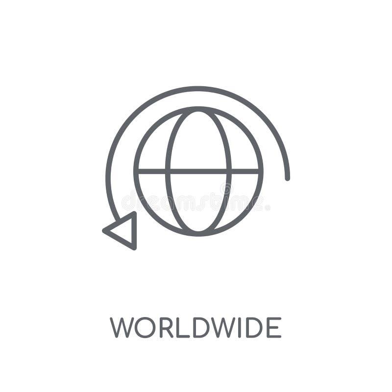 Världsomspännande linjär symbol Världsomspännande logobegrepp för modern översikt på stock illustrationer
