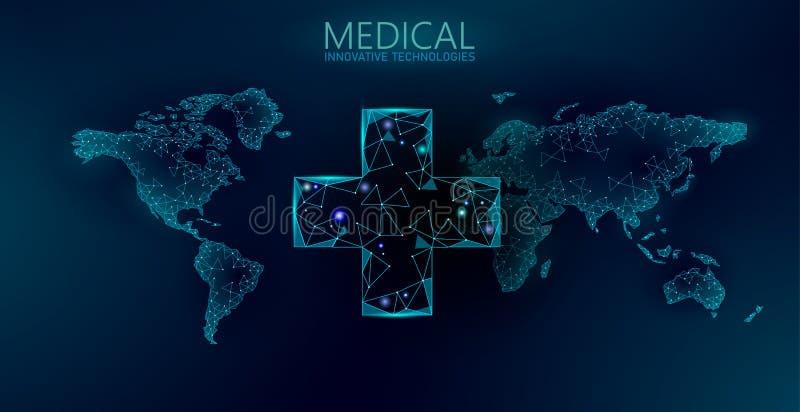 Världsomspännande medicinapotekleverans Global sändande mobil app för apotekservice Modern sjukvårdteknologivärld stock illustrationer