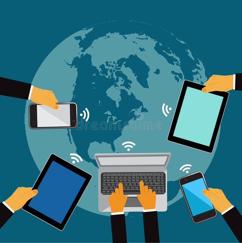 Världsomspännande nätverk, händer som rymmer mobiltelefoner och minnestavlor, vektorillustration royaltyfri illustrationer