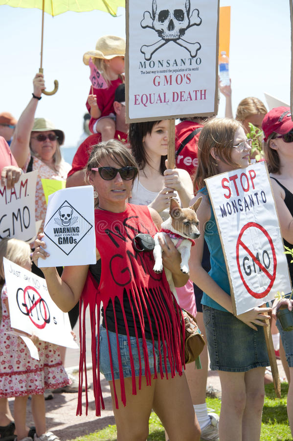 Världsomspännande protest mot Monsanto och GMOs royaltyfri bild