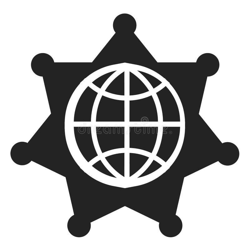 Världsomspännande symbolsvektortecken och symbol som isoleras på vit bakgrund, världsomspännande logobegrepp royaltyfri illustrationer
