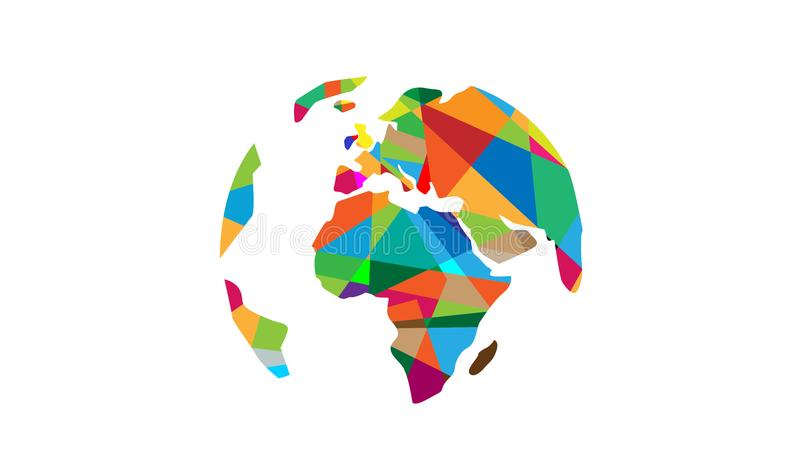 VärldsPIXELkontinenter Logo Map Design royaltyfri illustrationer