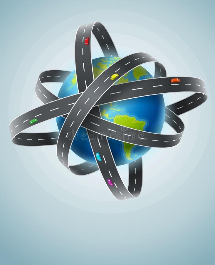 Världsplanet som cirklas av netto av vägar royaltyfri illustrationer