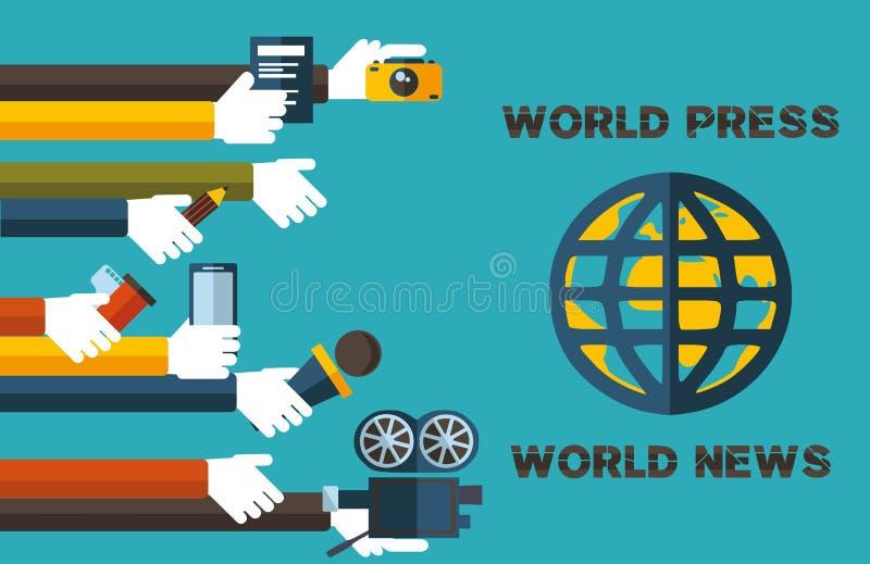 Världspress-värld nyheterna stock illustrationer