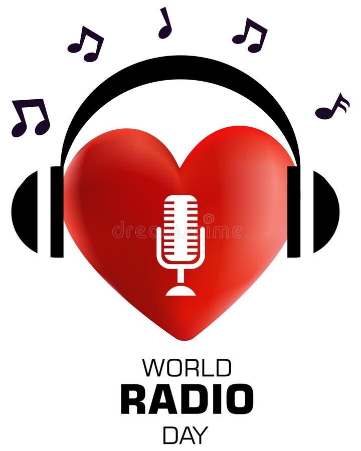 Världsradiodag, för logobegrepp för hjärta 3d illustration för vektor stock illustrationer
