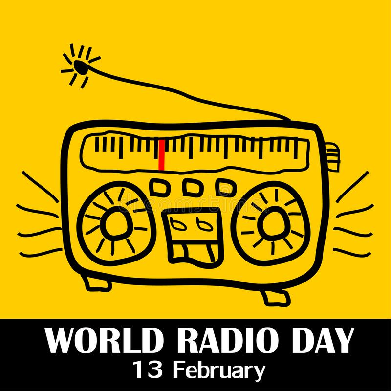 Världsradiodag, 13 Februari vektor illustrationer