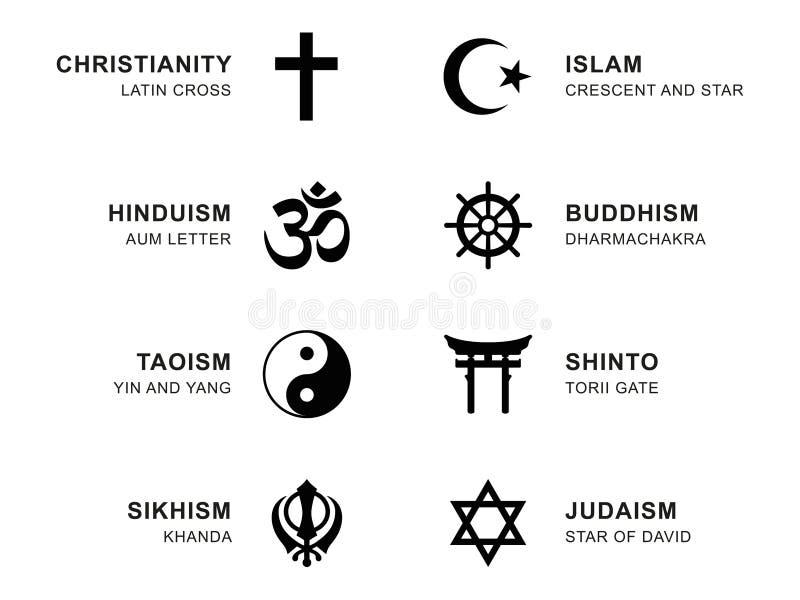 Världsreligionsymboler med engelskt märka royaltyfri illustrationer