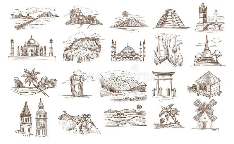 Världssikt och berömda gränsmärken isolerade byggnader, eller landskap skissar royaltyfri illustrationer