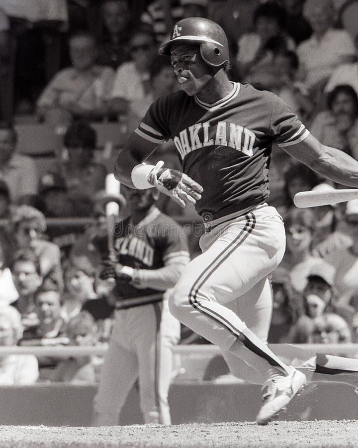 Världsstjärna Rickey Henderson för Oakland A ` s arkivbilder
