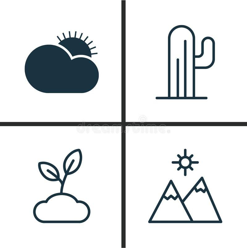 Världssymbolsuppsättning Samling av växt, Sunny Weather, kaktus och andra beståndsdelar Inkluderar också symboler liksom väder royaltyfri illustrationer