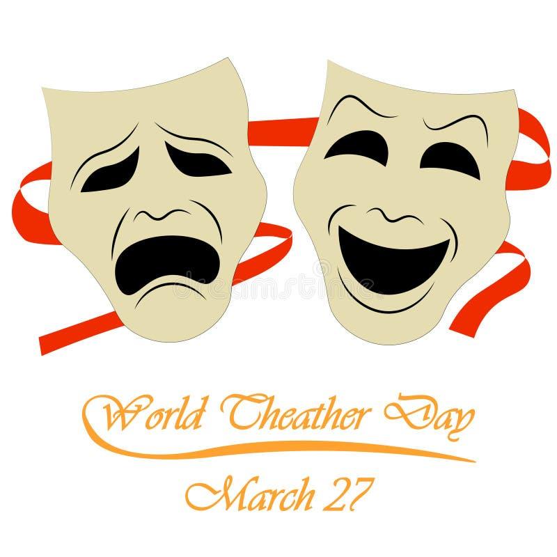 Världsteaterdag, marsch 27 vektor illustrationer