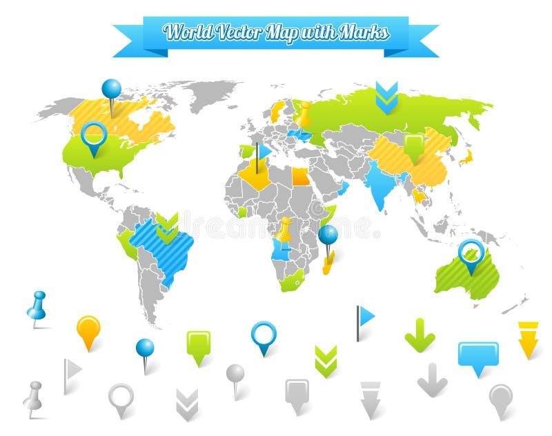 Världsvektorn kartlägger med markerar vektor illustrationer
