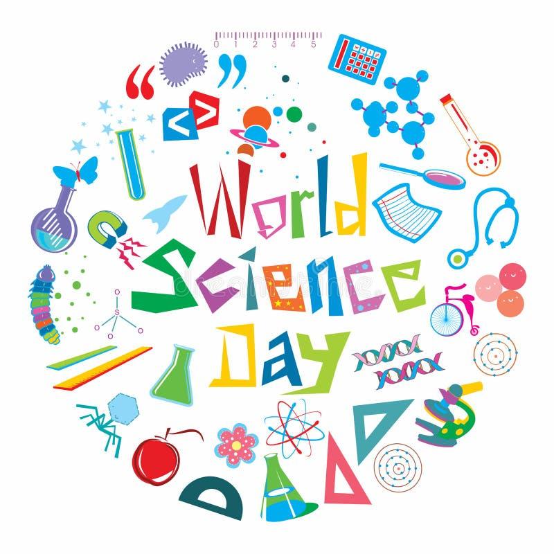 Världsvetenskapsdag royaltyfri illustrationer