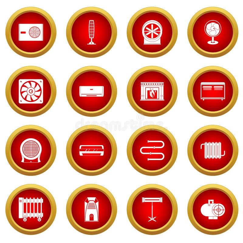 Värma att kyla uppsättningen för cirkel för luftsymbol den röda royaltyfri illustrationer