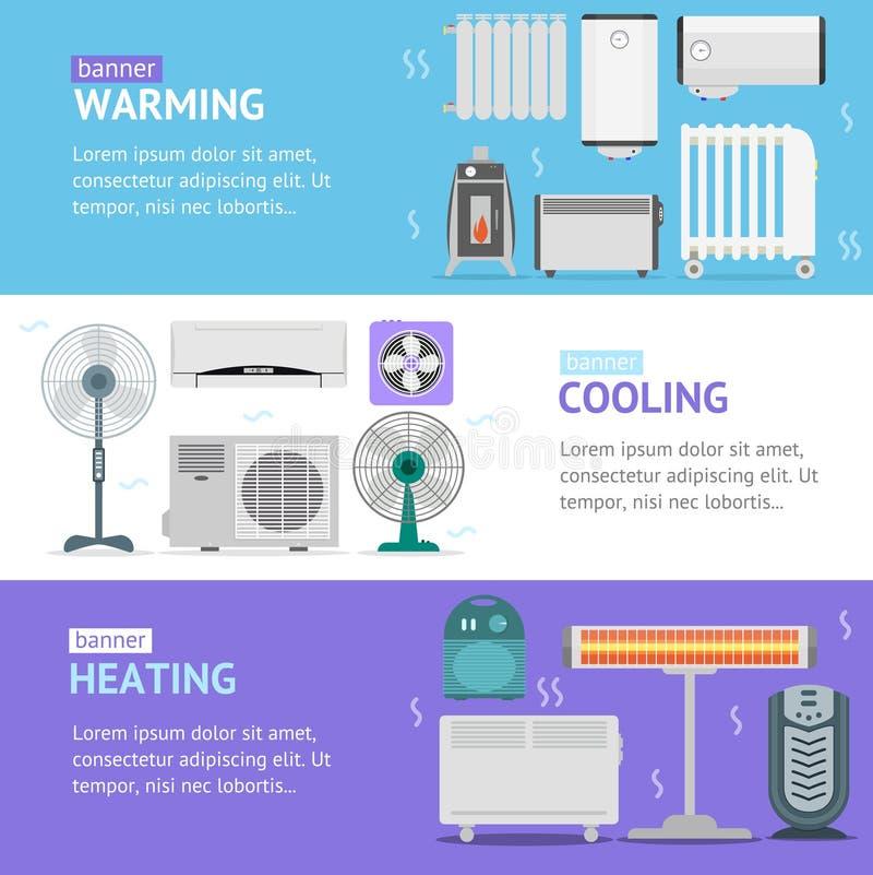Värma, kyla och värmeuppsättning för kort för apparatbaner horisontal vektor vektor illustrationer