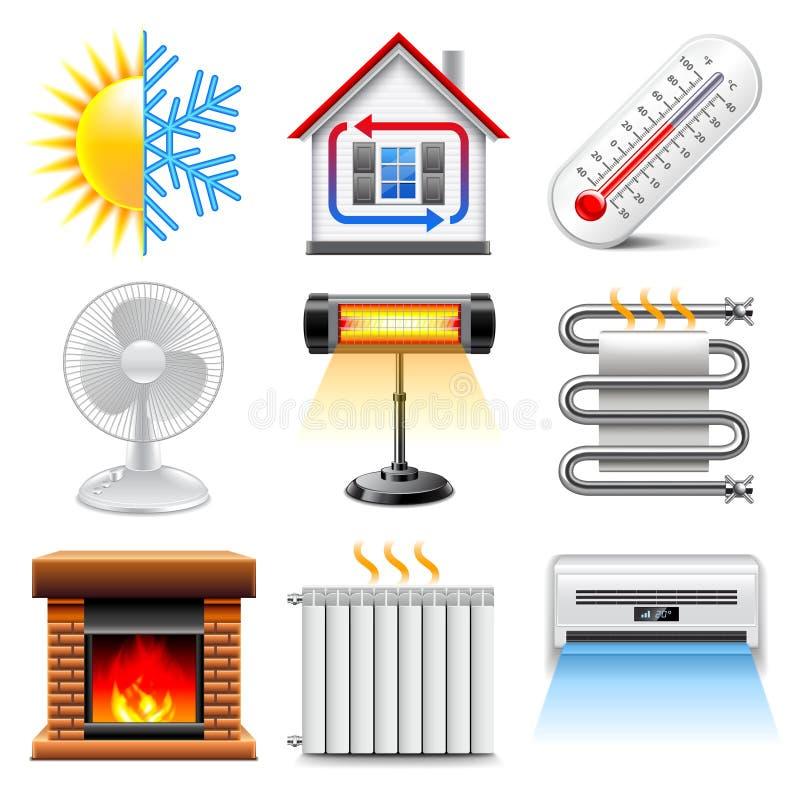 Värma och kyla symbolsvektoruppsättningen stock illustrationer