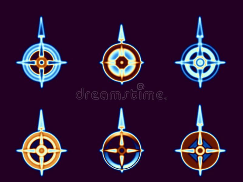 värmd upp kompass royaltyfri illustrationer