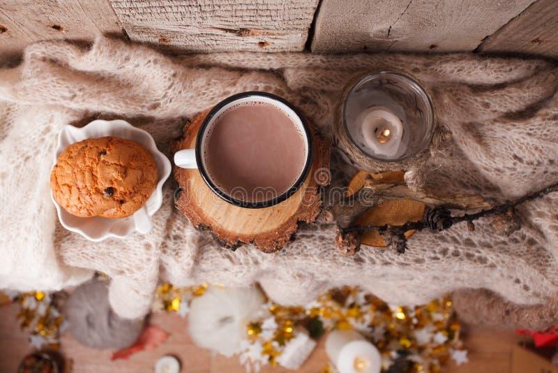Värme för varm choklad dricker ull kastar hemtrevliga höstvinterkakor, jul semestrar bakgrund, kopieringsutrymme, bästa sikt arkivbilder