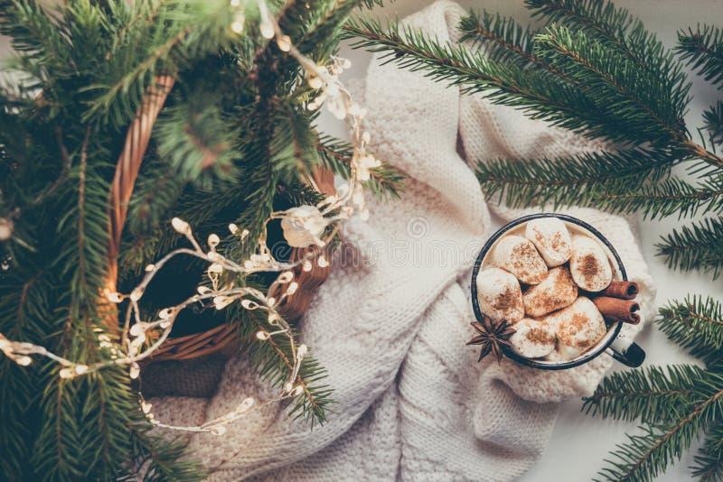 Värme för vinter rånar av kakao och choklad med marshmallowen med julgrandekoren arkivbild