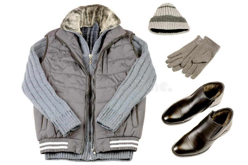 Värme kläder för vinterman` s på en vit bakgrund fotografering för bildbyråer