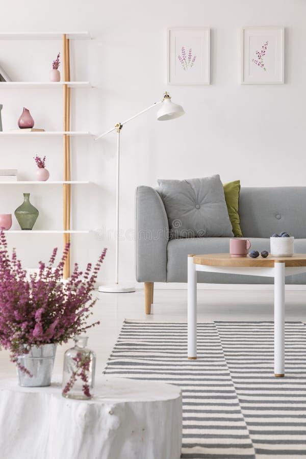 Värmeapparat i kruka på den lilla trätabellen i elegant scandinavian vardagsrum med den gråa soffan och den vita lampan arkivbilder
