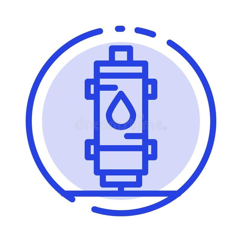 Värmeapparat vatten, värme som är varm, gas, blå prickig linje linje symbol för Geyser stock illustrationer