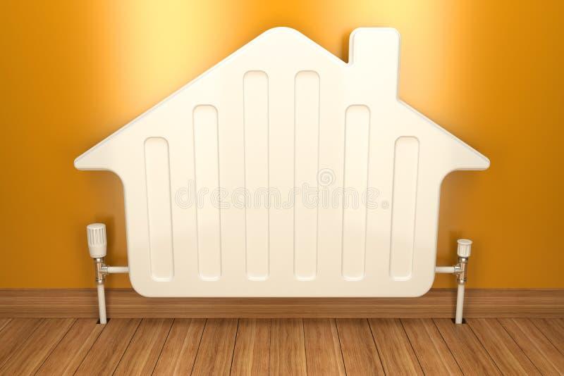 Värmeapparatelement på den gula väggen i hus 3d royaltyfri illustrationer