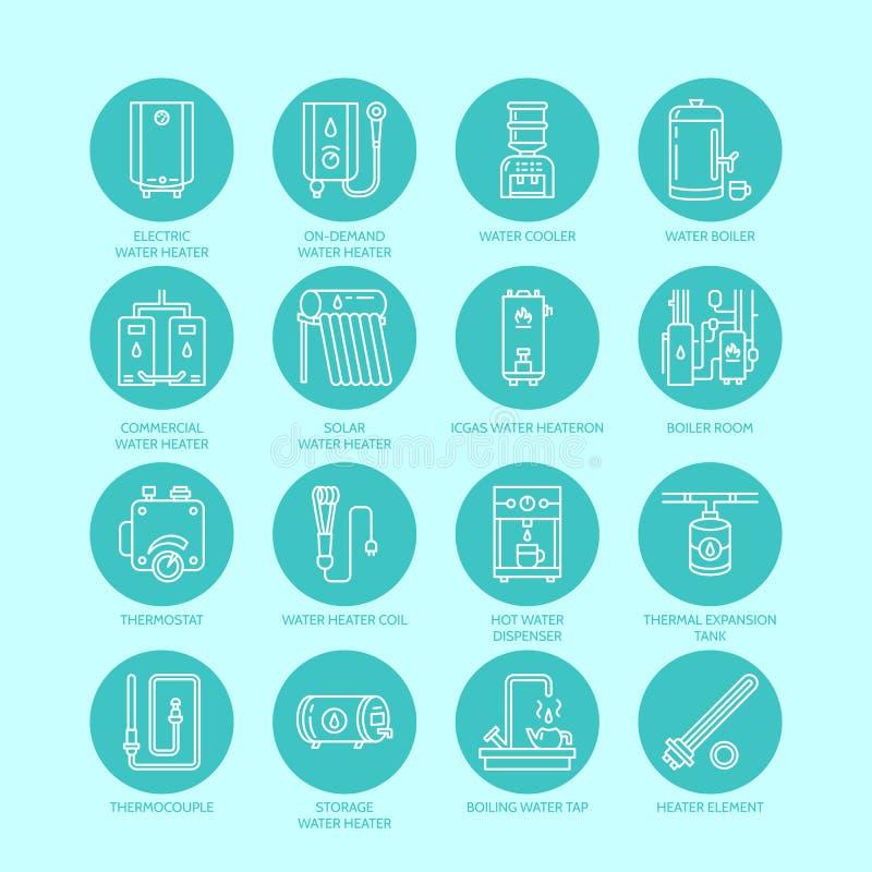 Värmeapparaten, vattenkokkärlet, termostaten, elkraften, gas, sol- värmeapparater och annan husuppvärmningutrustning fodrar symbo royaltyfri illustrationer