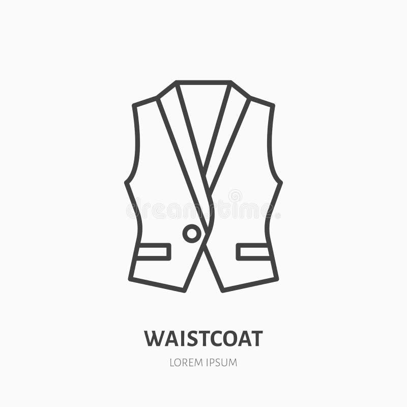 Väst waistcoatlägenhetlinje symbol Plagglagertecken Den tunna linjära logoen för att bekläda shoppar royaltyfri illustrationer