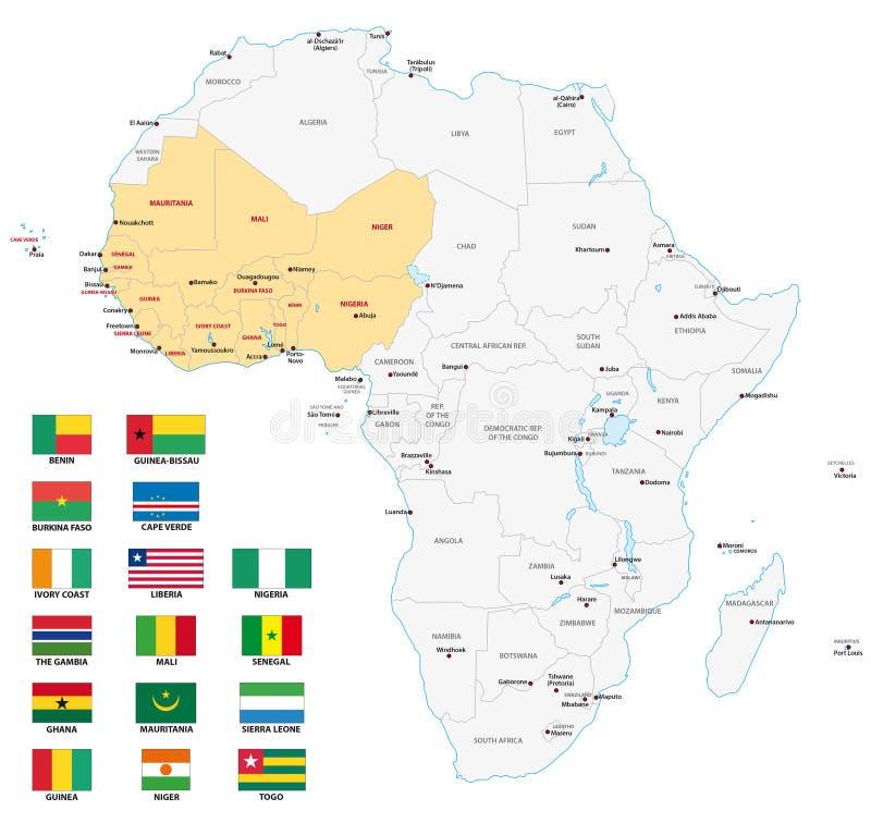 Västafrika kartlägger med flaggor royaltyfri illustrationer