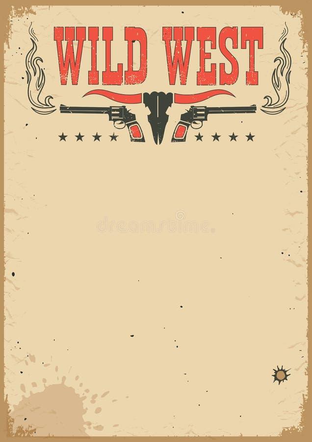 Västra affisch för amerikansk cowboy för text Vektorbakgrund med vapen och garnering royaltyfri illustrationer