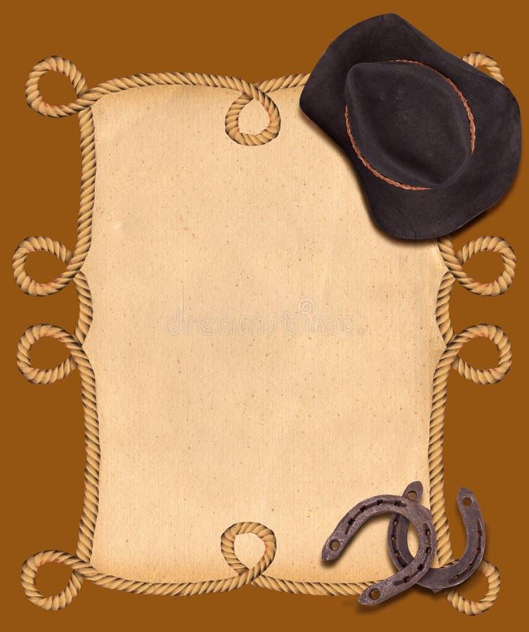 Västra bakgrund med cowboyhatten och hästskor för text vektor illustrationer