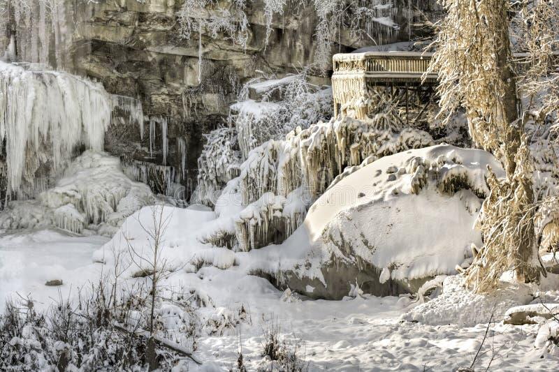 Västra Elyria nedgångar i vinter royaltyfri fotografi