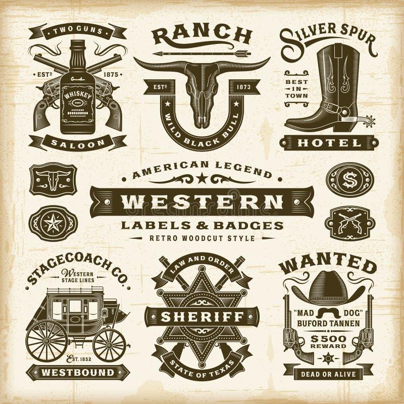 Västra etikett- och emblemuppsättning för tappning stock illustrationer