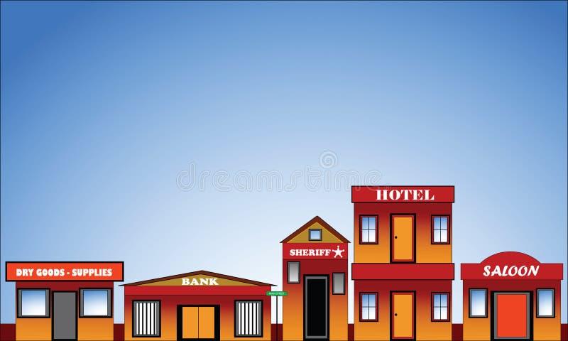 västra gammal town för facadegräns stock illustrationer