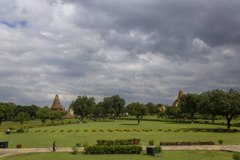 Västra grupp av tempel, Khajuraho, Madhya Pradesh, Indien royaltyfria foton